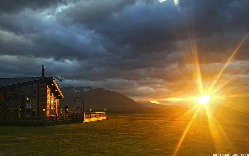 Spring is coming in Iceland and sunrise is here at Breiddalsa Lodge